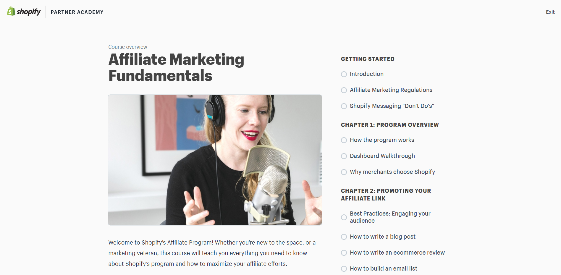 The Shopify Academy for affiliate marketing page