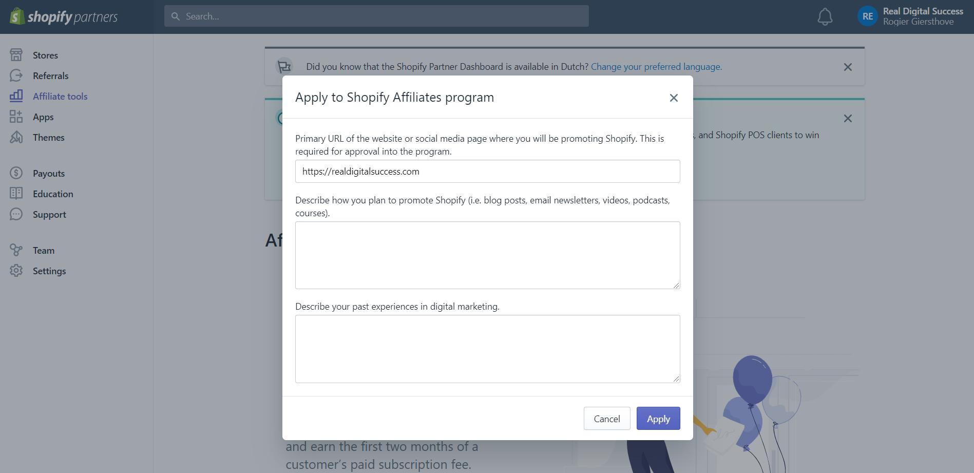 approval process shopify affiliate program