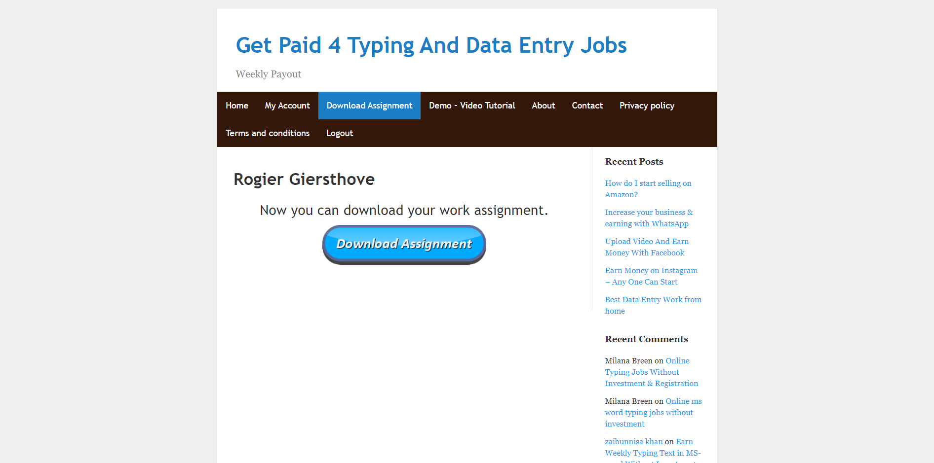 getpaid4typing.net work assignment