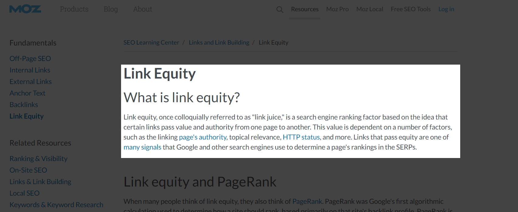 link equity explanation from Moz