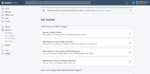 Shopify Affiliate program main dashboard