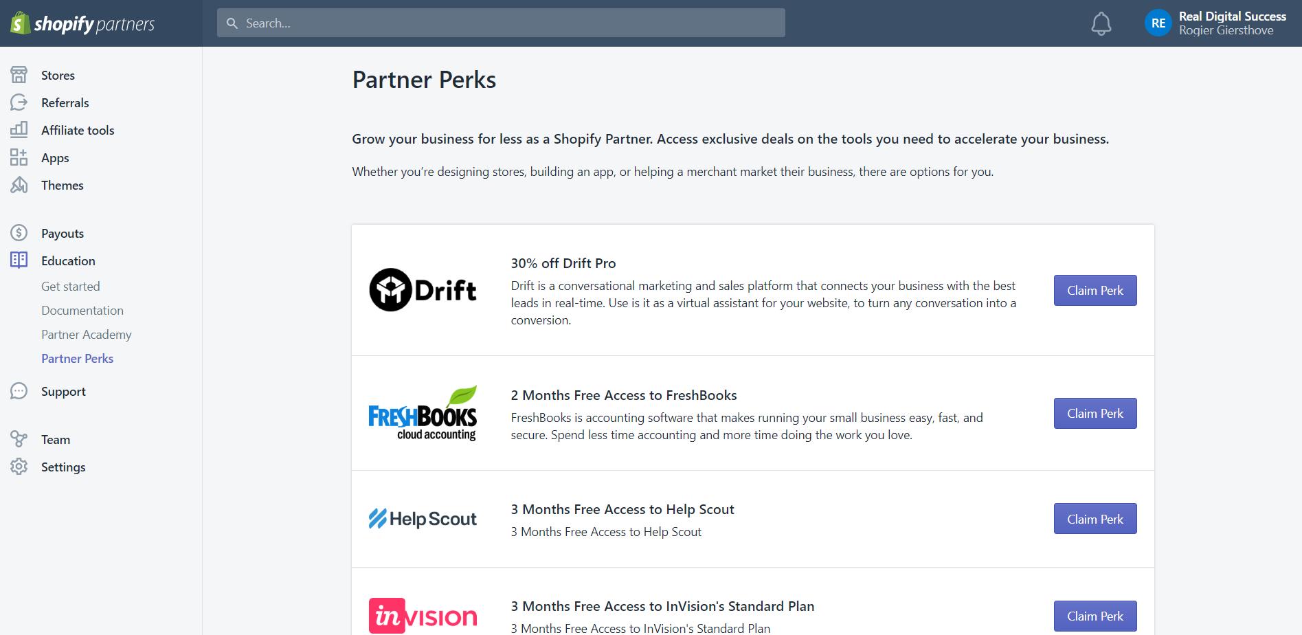Shopify Partner Perks