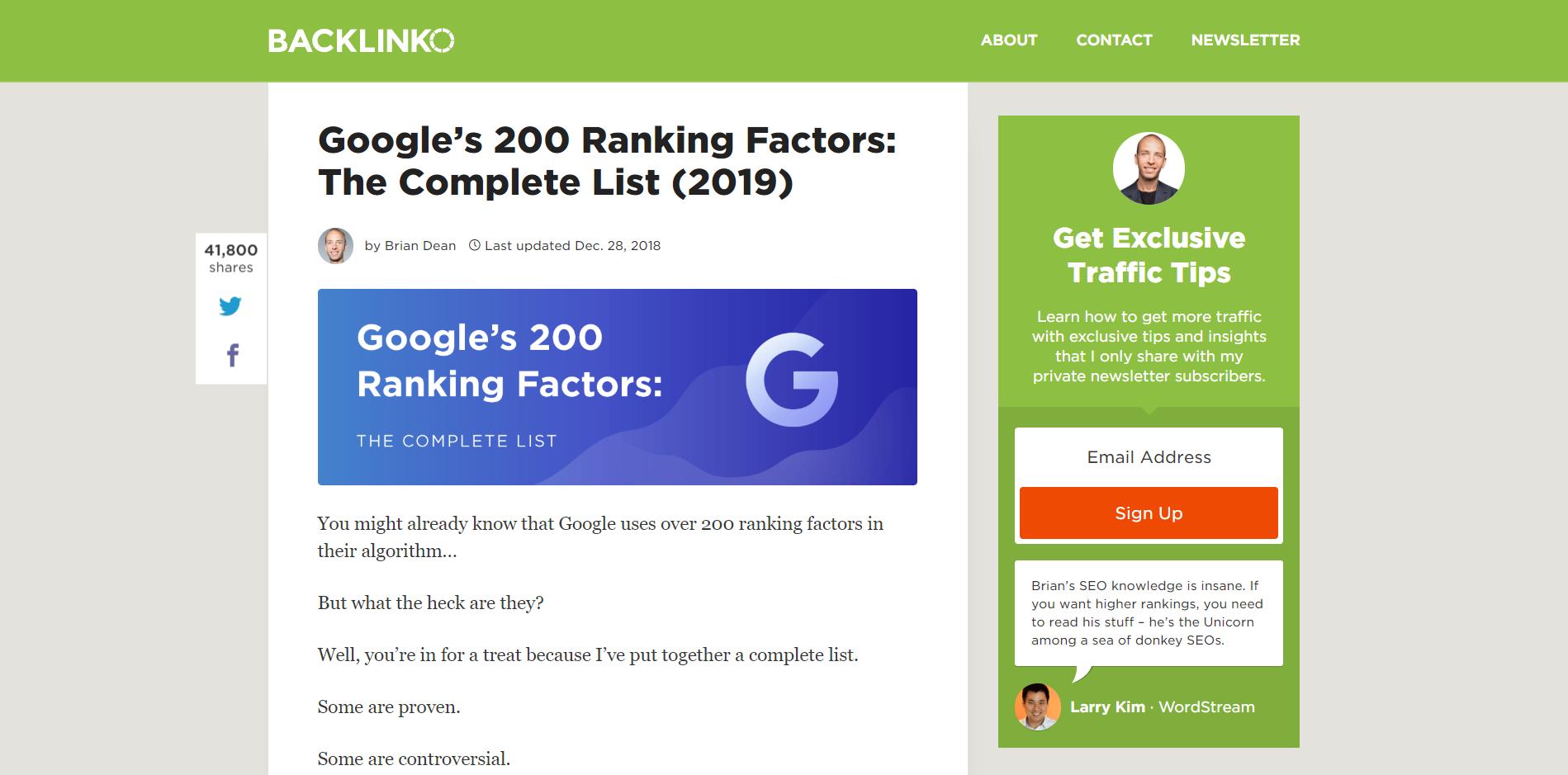 200 ranking factors blog post by backlinko