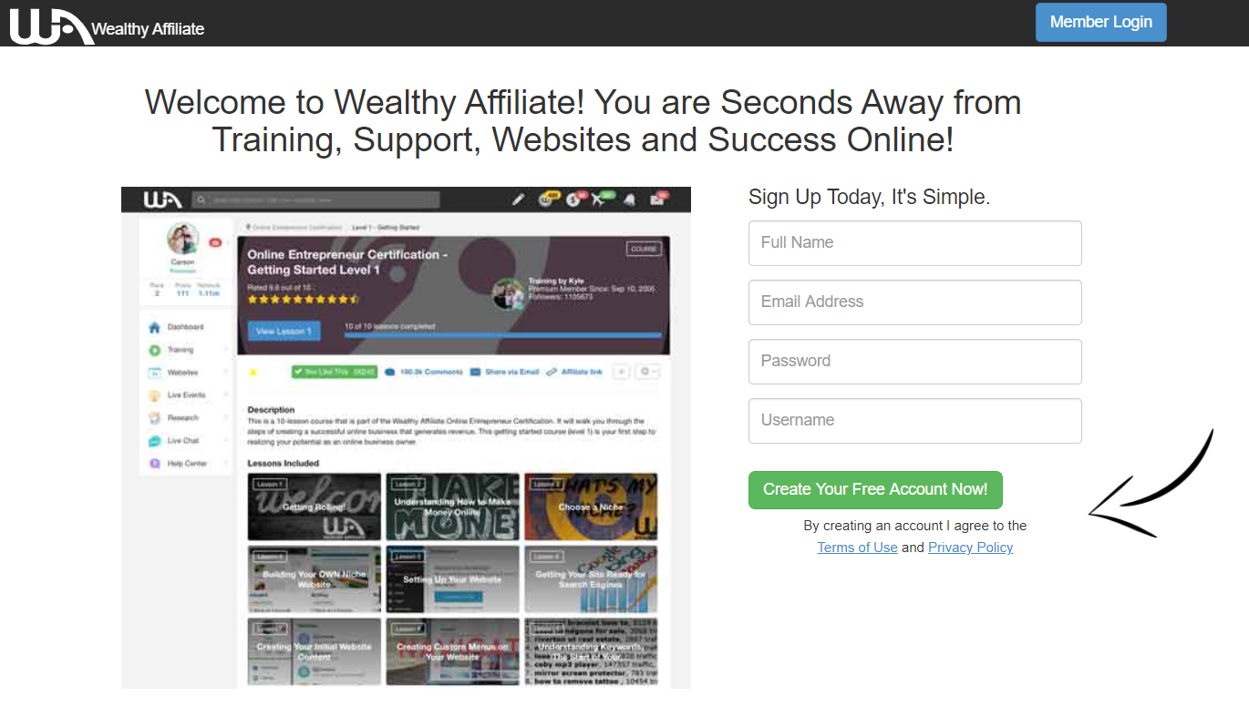 Wealthy Affiliate Opt-in page