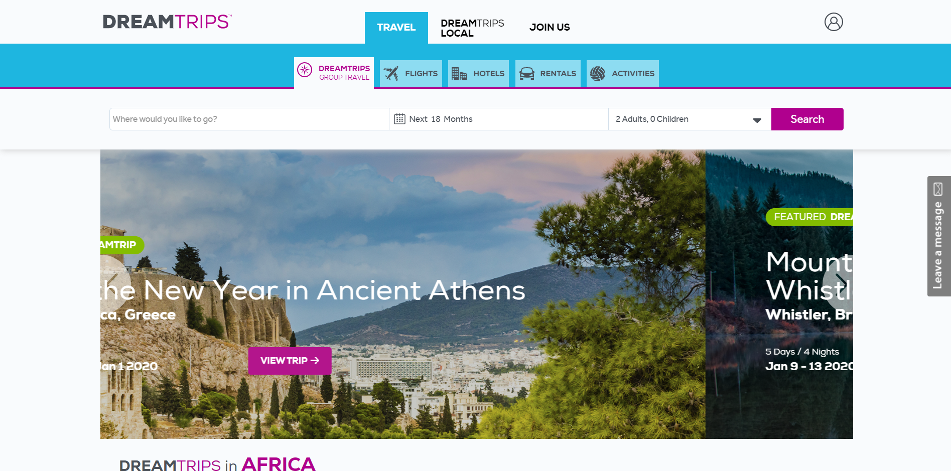dreamtrips main page
