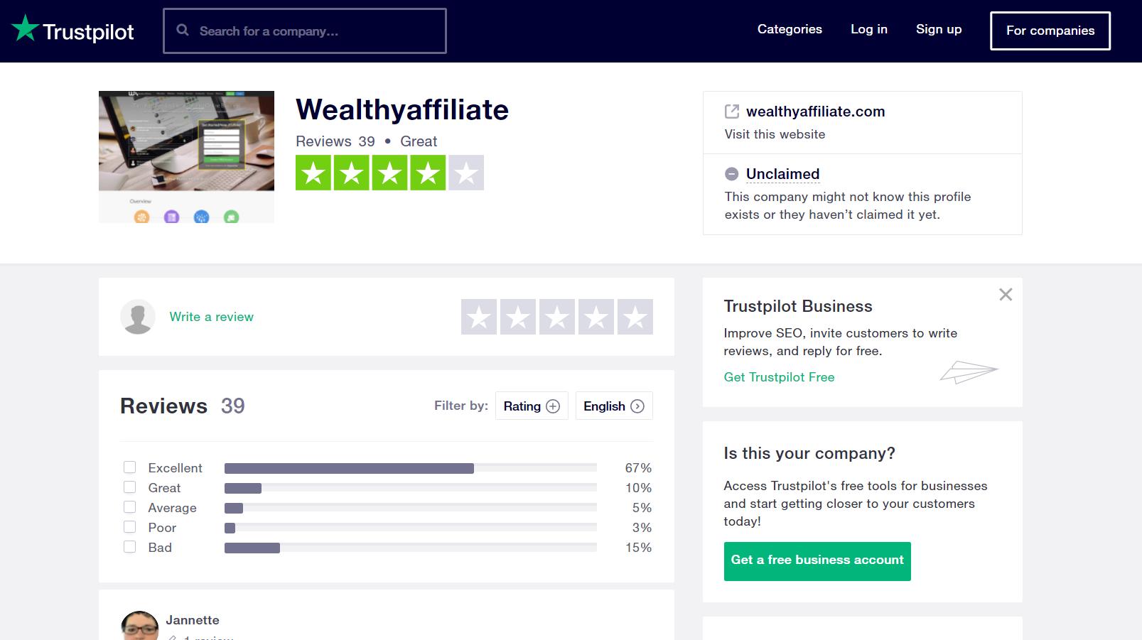trust pilot wealthy affiliate