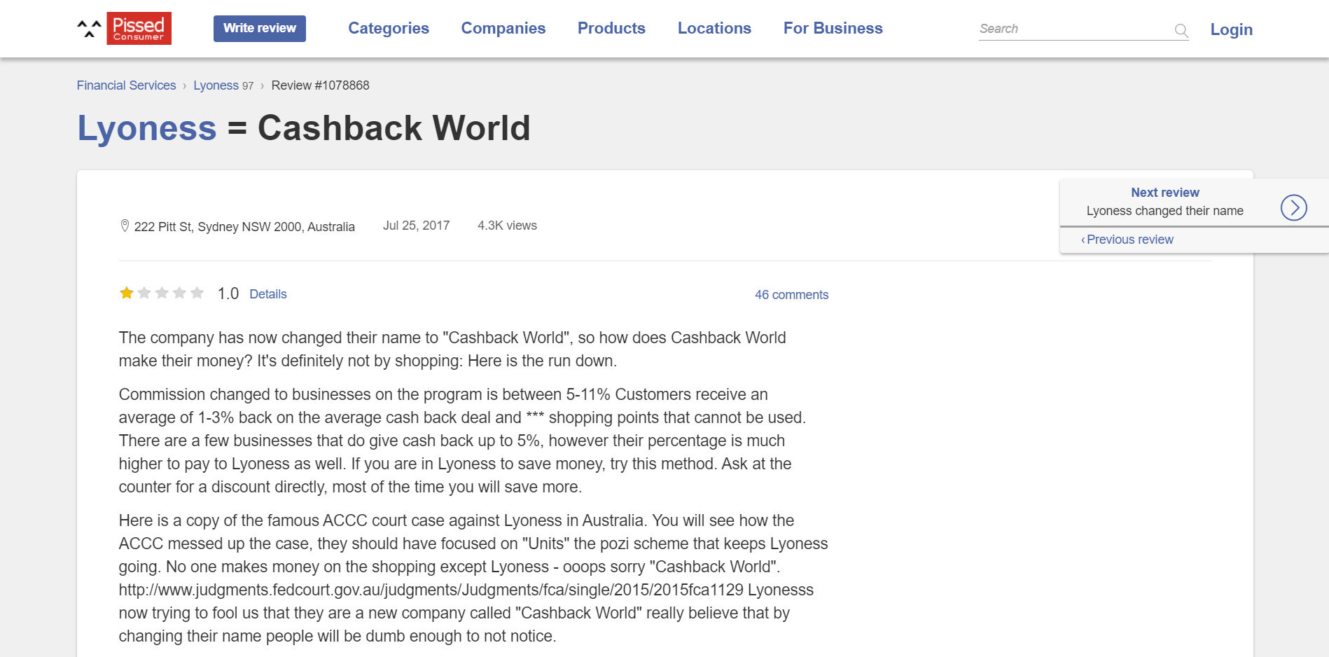 Other Cashback World review