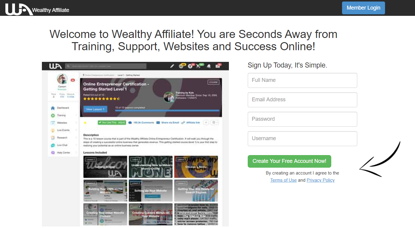 Create free Wealthy Affiliate Account