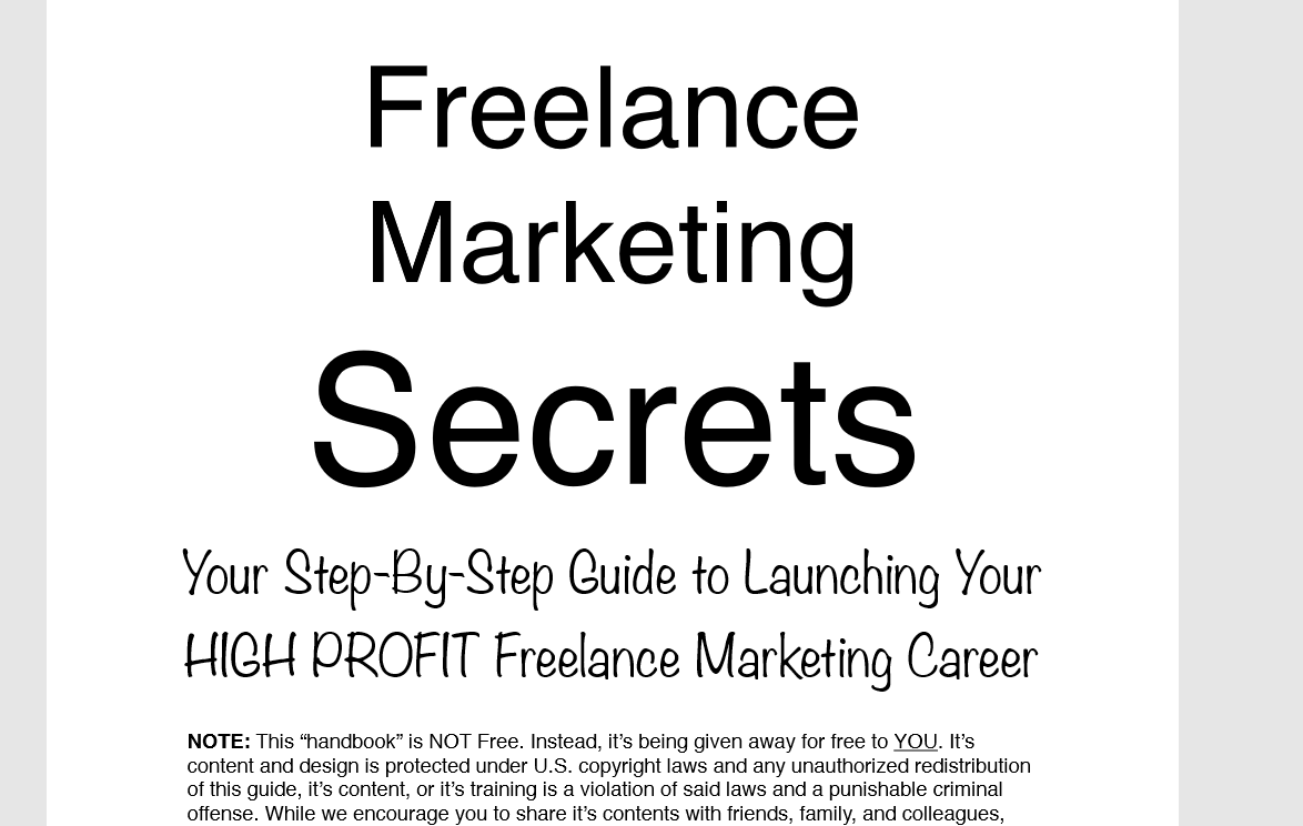 Freelance Marketing Secrets main page