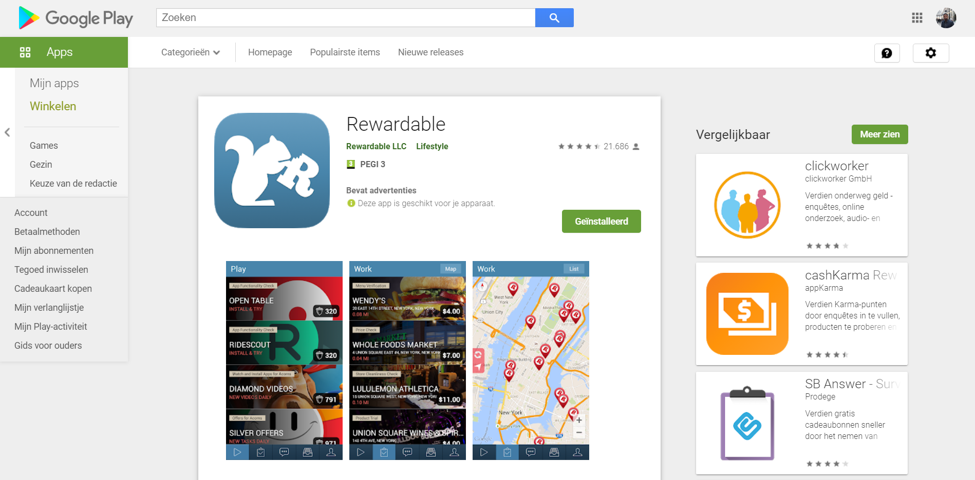 Google Play Rewardable