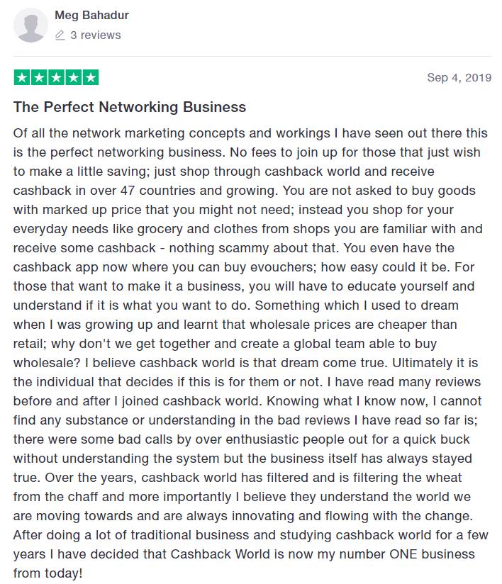 Meg Bahadur Cashback World review