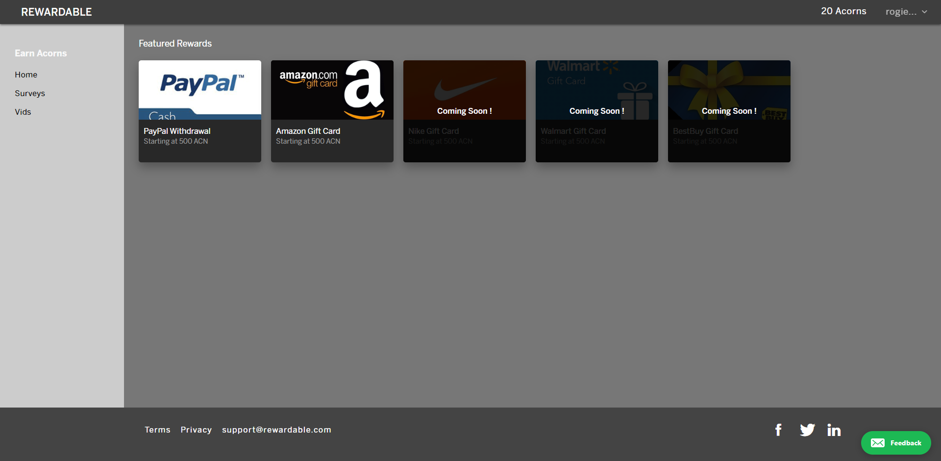 Rewardable Redeem desktop area