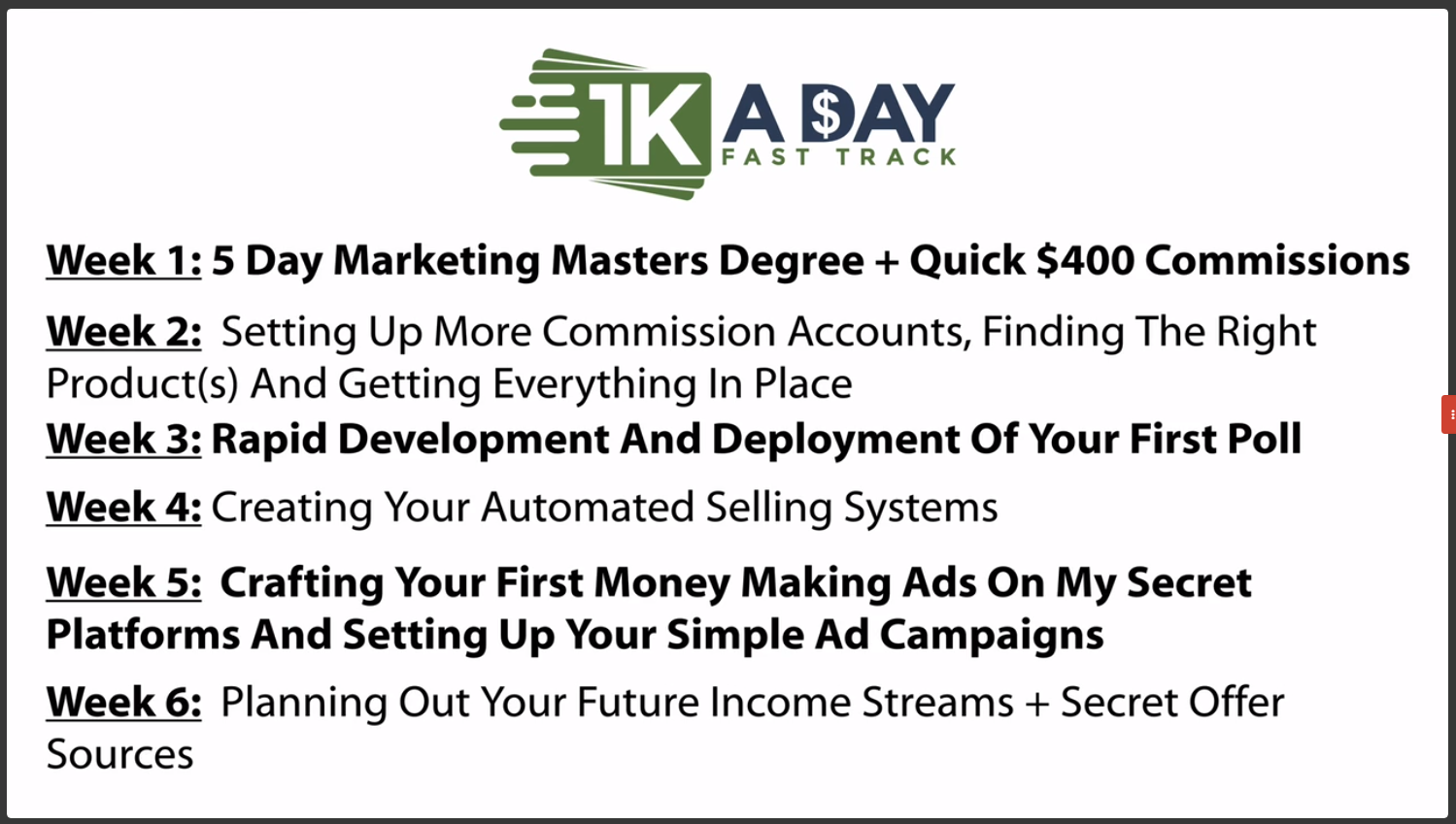 1k A Day Fast Track Training Program  Price Outright