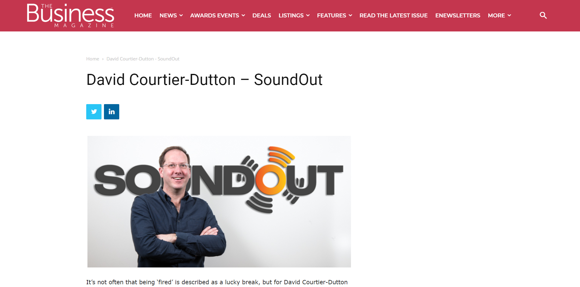 David Coutier-Dutton in the Business magazine