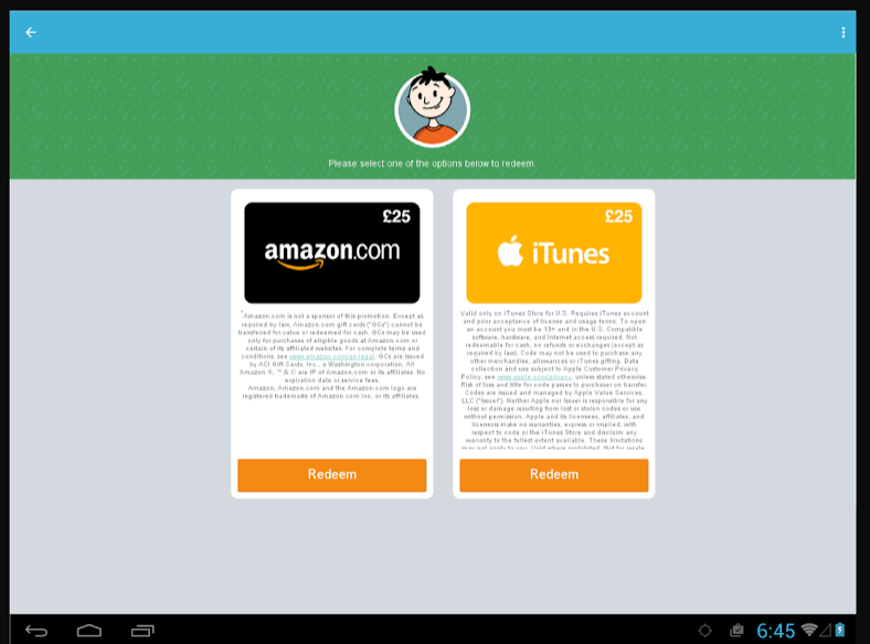 iPoll Tablet Redeem gift cards