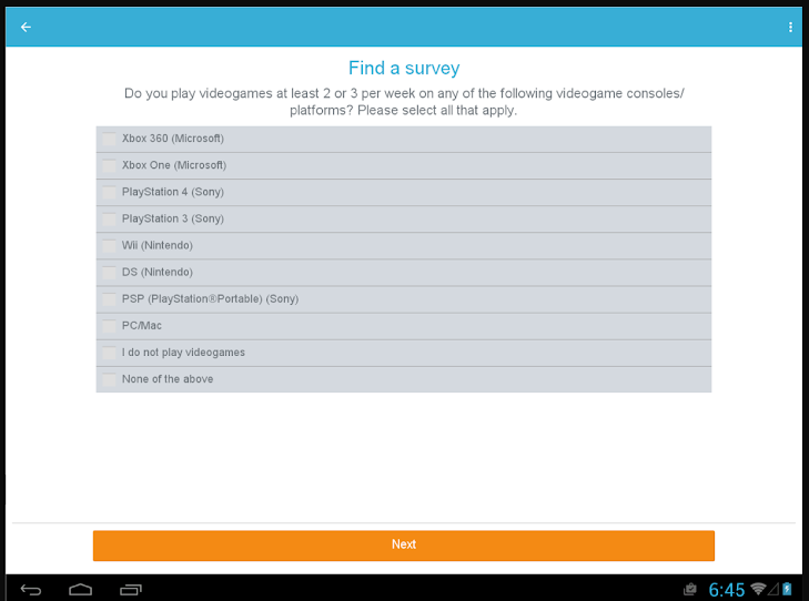 iPoll Tablet find a survey