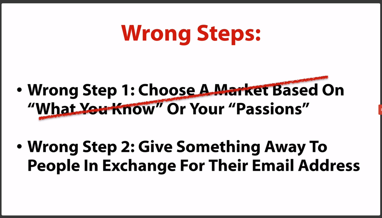 wrong steps list