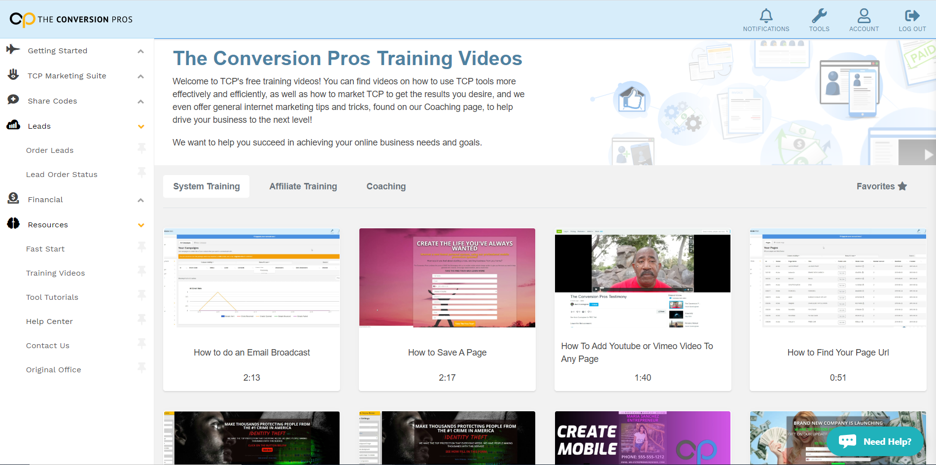The Conversion Pros Training videos
