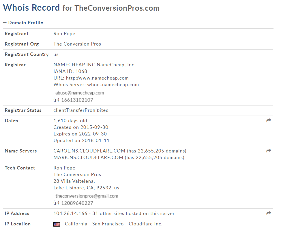 WHOIS The Conversion Pros