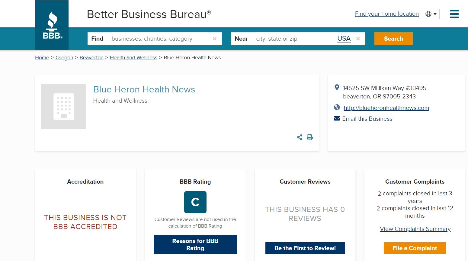 BBB rating Blue Heron Health News