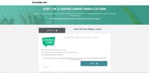 Survey Spotter sign-up step 1Survey Spotter choose survey paneks