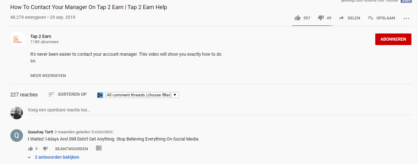 Tap 2 Earn YouTube Comment Scam