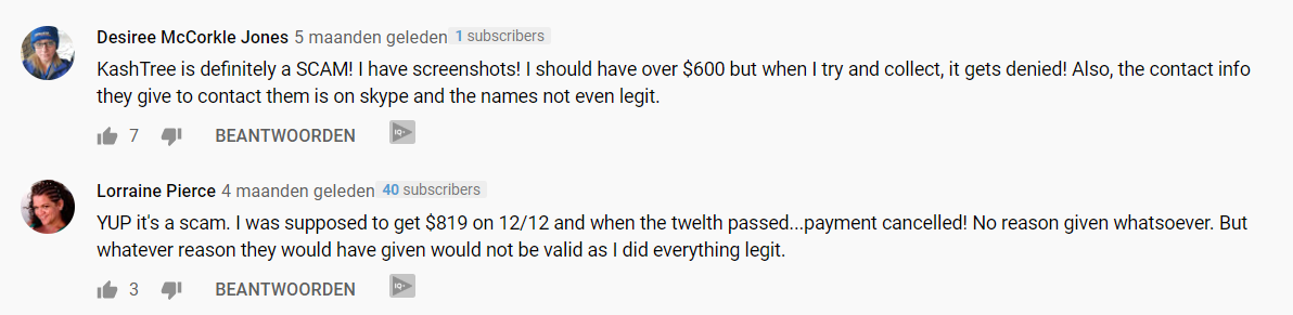 Kashtree Youtube comments its a scam