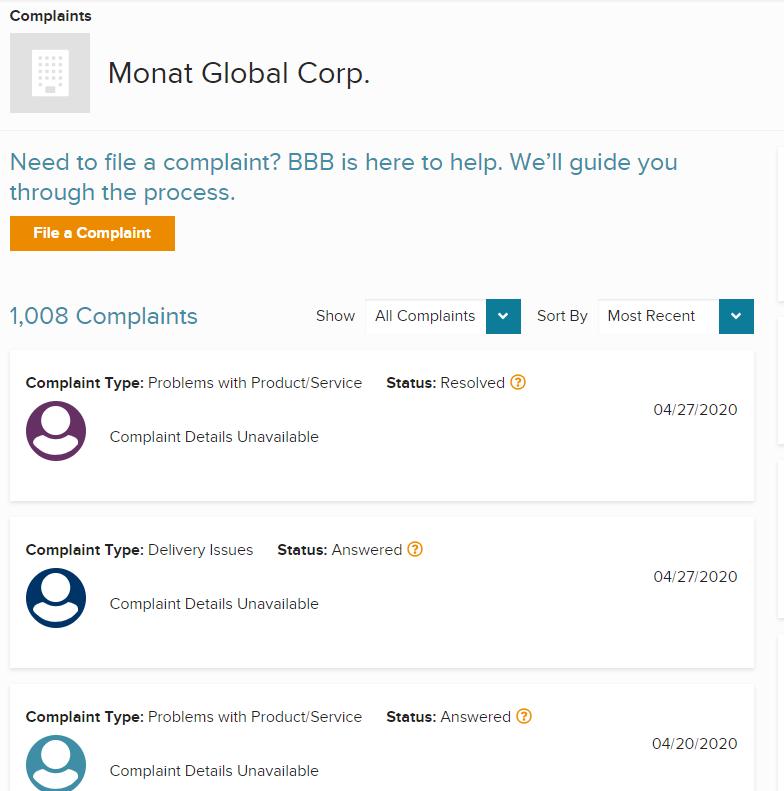 BBB complaints Monat Global