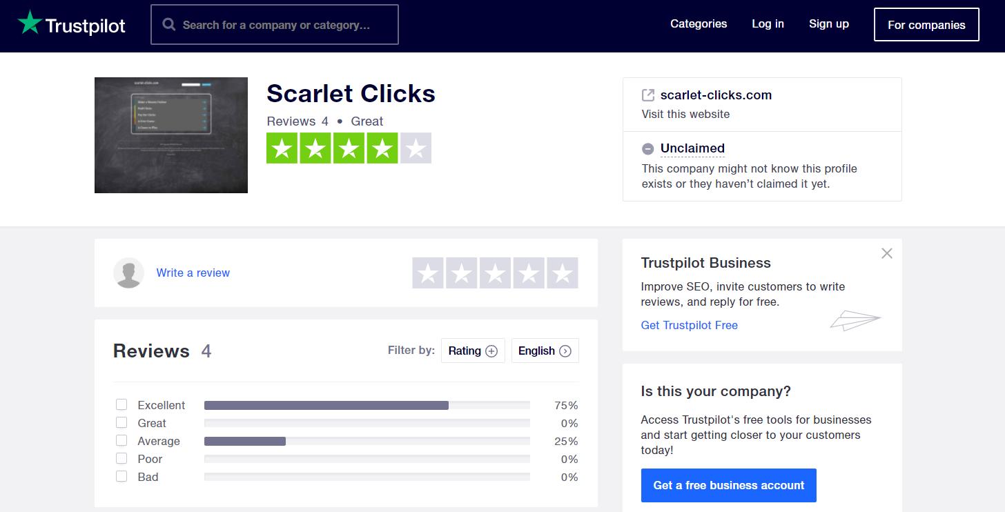 Trustpilot scarlet clicks review