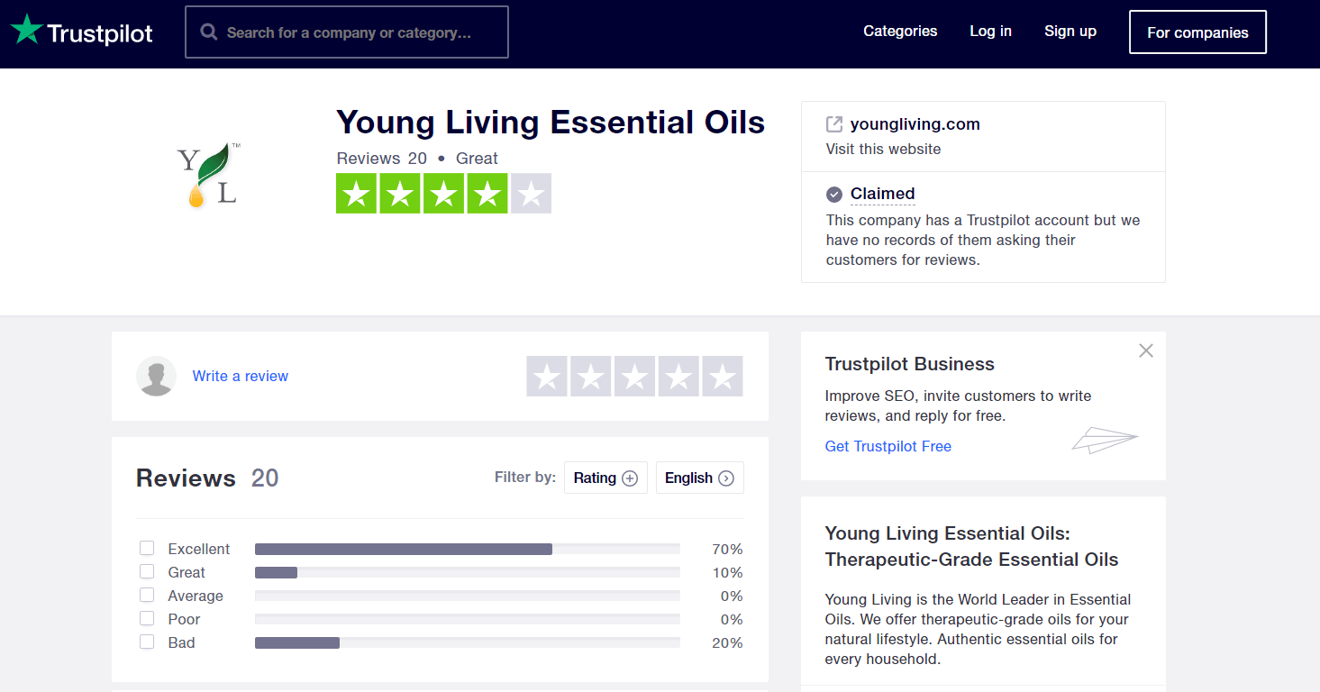 Young Living Trustpilot product rating