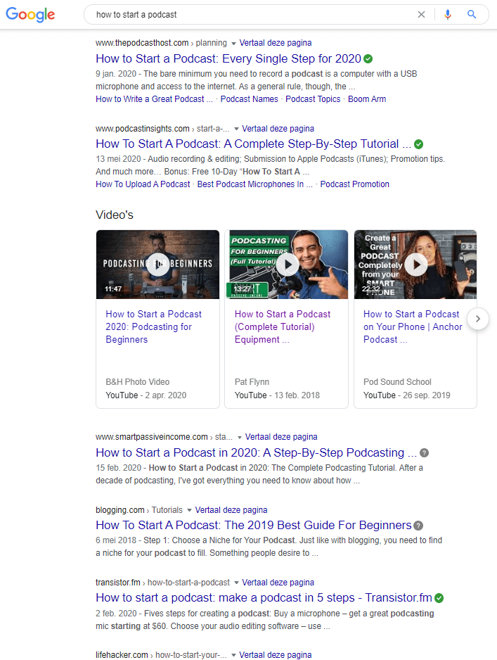 Google results for how to start a podcast
