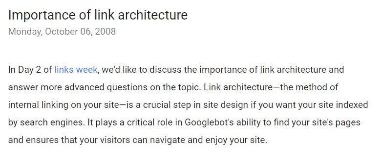 Google webmasters blog link architecture