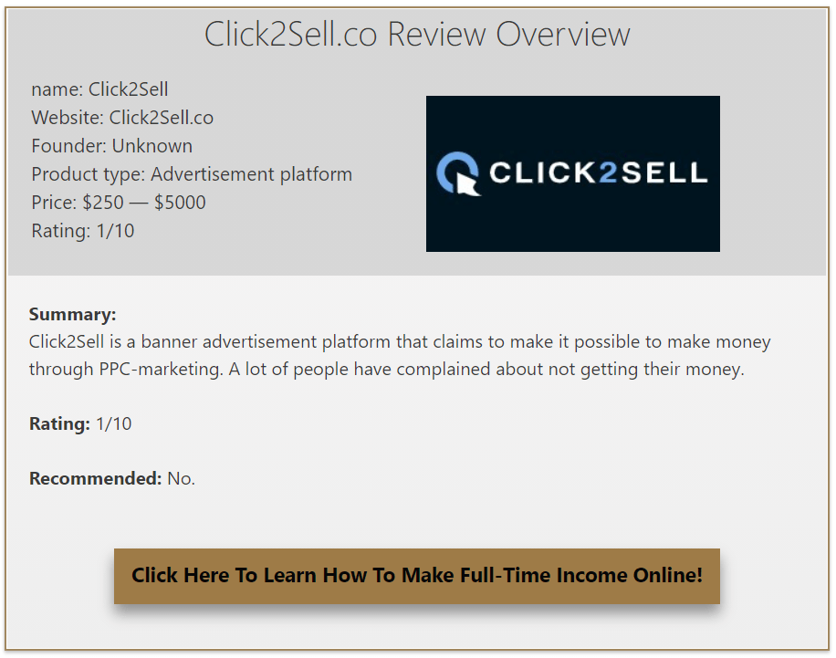 Click2Sell review overview