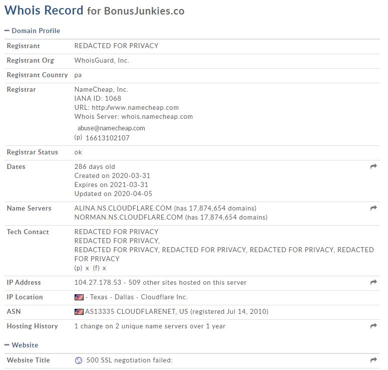 WHOIS info Bonus Junkies