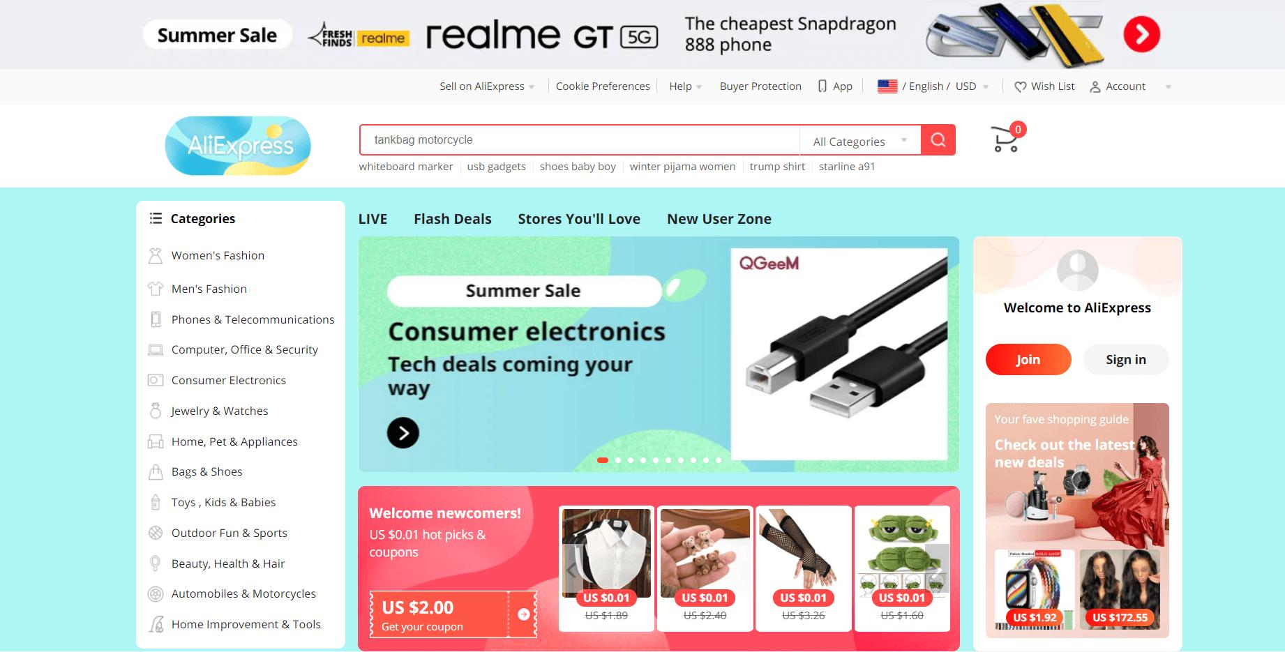 Aliexpress main page